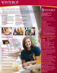 Admissions Profile - Winthrop University