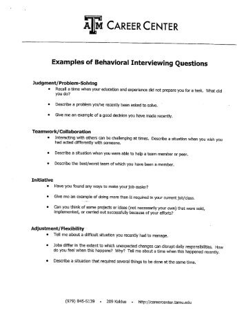 Examples Of Behavioral Interviewing Questions   CS Course .