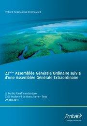 23ème Assemblée Générale Ordinaire suivie d'une ... - Ecobank