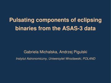 Pulsating components of eclipsing binaries from the ASAS3 ... - helas