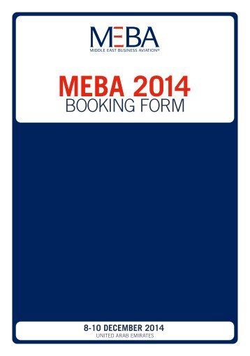 Download the MEBA 2014 Booking Form
