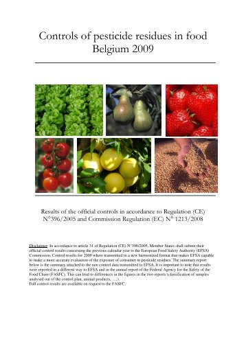 Controls of pesticide residues in food Belgium 2009 - FAVV