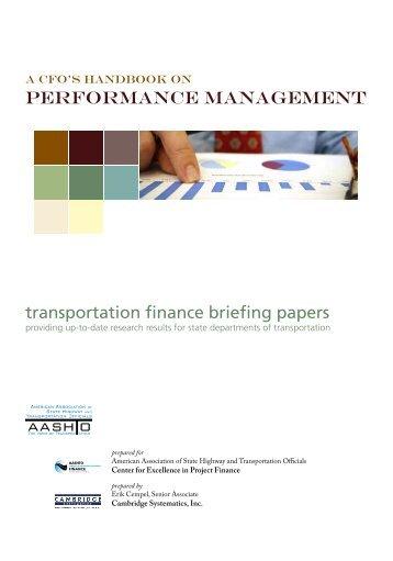 A CFO's Handbook on Performance Management - AASHTO Center ...