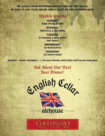 Weekly Events Ask About Our Next Beer Dinner! - Dine Here US