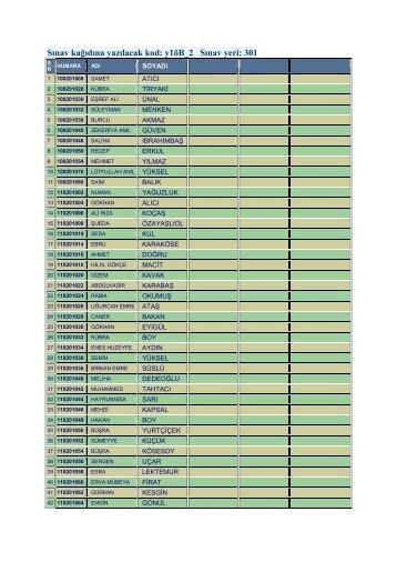 Sınav kağıdına yazılacak kod: y1öB_2 Sınav yeri: 301