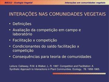 INTERAÇÕES NAS COMUNIDADES VEGETAIS