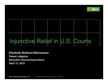 Injunctive Relief in U.S. Courts - Fordham IP Conference