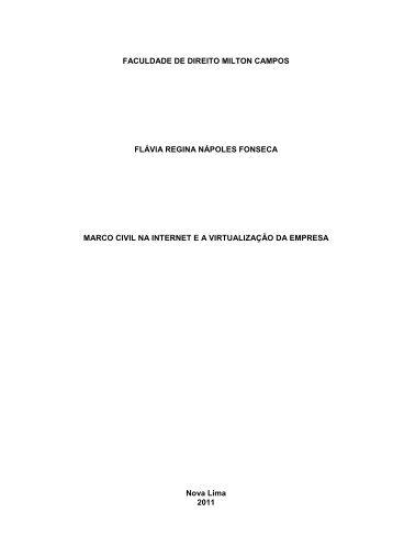 Marco Civil na Internet ea Virtualização da Empresa - Milton Campos