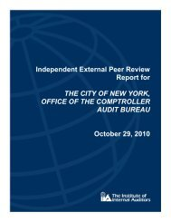 Independent External Peer Review Report for THE CITY OF NEW ...