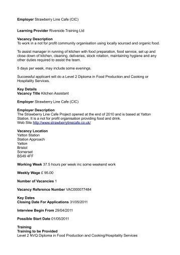 Learning Provider Riverside Training Ltd Vacancy Description To ...