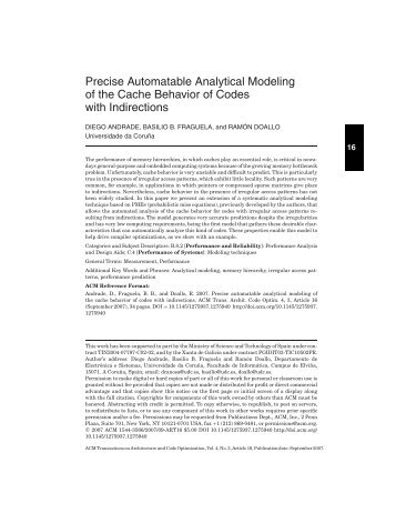 Precise Automatable Analytical Modeling of the Cache Behavior of ...
