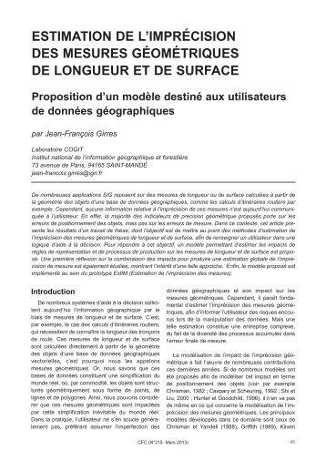 ESTIMATION DE L'IMPRÉCISION DES MESURES ...