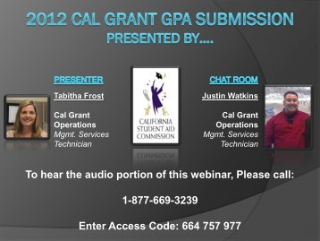 WebGrants GPA Submission by the California Student Aid ...