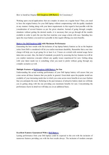 How to Install an Original Dell Inspiron 6400 Battery for Consistency?.pdf