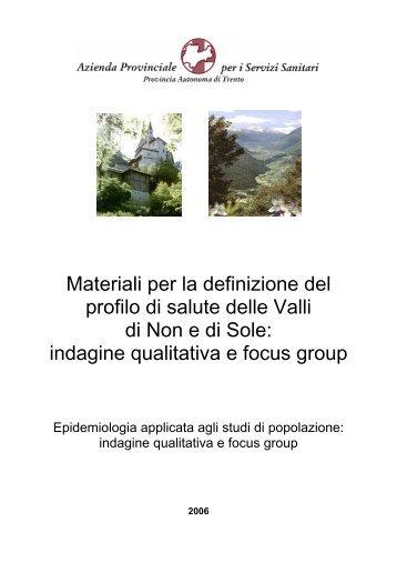 indagine qualitativa e focus group - Trentino Salute