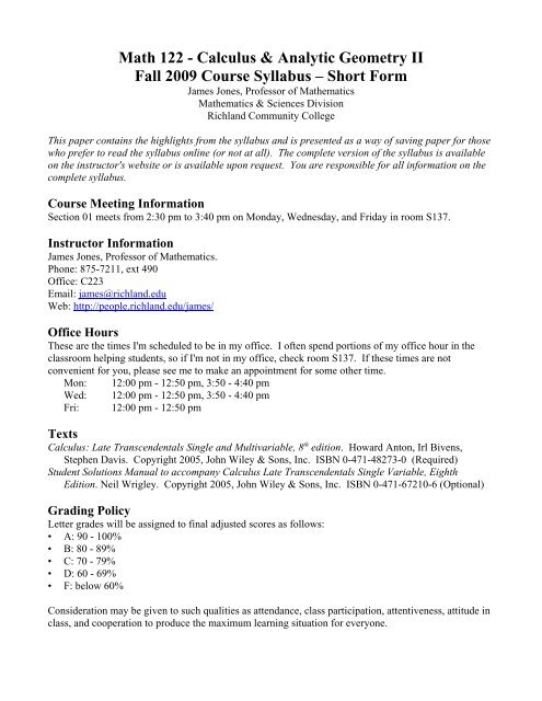 Math 122 - Calculus & Analytic Geometry II Fall 2009 Course