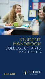 Student Handbook - College of Arts & Sciences - Bethel University