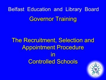 Governor Training The Recruitment, Selection and Appointment ...