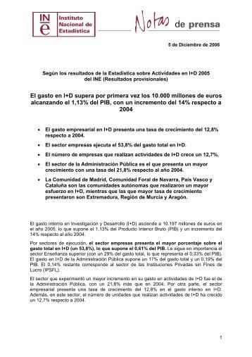 Estadística de Actividades de I+D 2005 - Madri+d