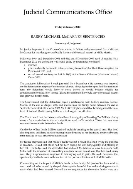 Summary of Judgment - R v Barry Michael McCarney - Northern