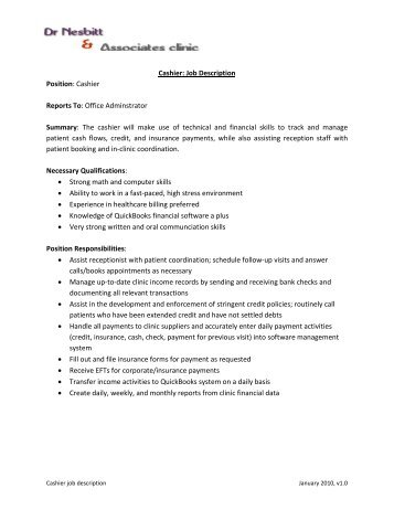 Cashier - Supervisor Job Description - Bordine'S