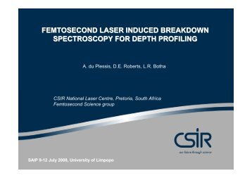 femtosecond laser induced breakdown spectroscopy (LIBS) - CSIR