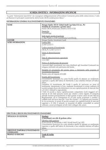 scheda sintetica - informazioni specifiche - ASPECTA Assurance ...