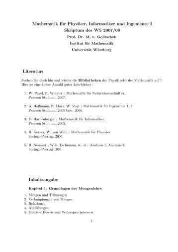 Mathematik für Physiker, Informatiker und Ingenieure I - Lehrstuhl für ...