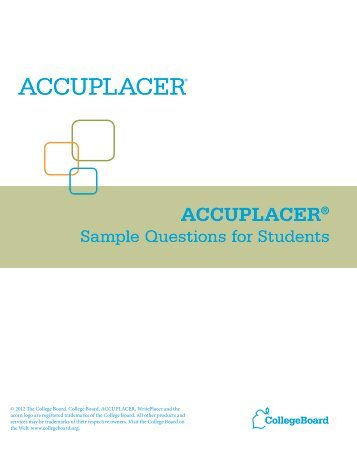 Introduction, Sample Answer Sheet, Seating ... - College Board