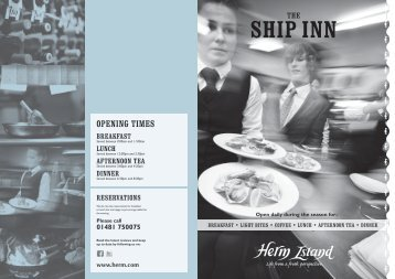 Ship Inn Brasserie Evening menu - Herm Island