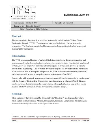 NEW TF PROJECT ENGINEERING INFO SHEET