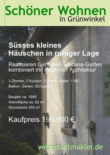 Süsses kleines Häuschen in ruhiger Lage - weststadtmakler.de