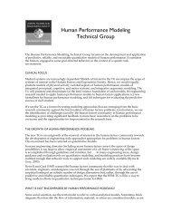 Human Performance Modeling Technical Group - Human Factors ...