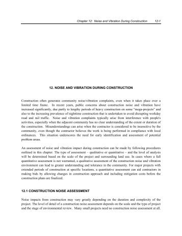 12. NOISE AND VIBRATION DURING CONSTRUCTION ... - HMMH