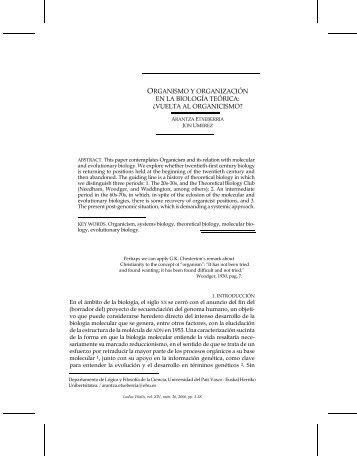 organismo y organización en la biología teórica - Ludus Vitalis