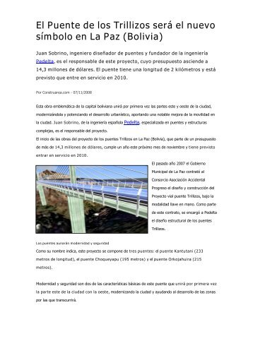 El Puente de los Trillizos será el nuevo símbolo en La Paz (Bolivia)