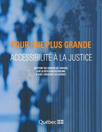 Pour une plus grande accessibilité à la justice. Rapport mai 2005.