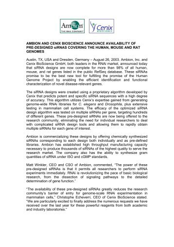 Download PDF - Cenix BioScience GmbH.