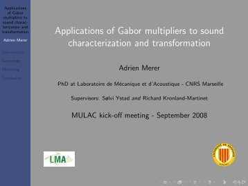 Applications of Gabor multipliers to sound characterization and ...