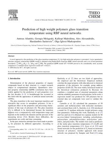 Prediction of high weight polymers glass transition temperature ...