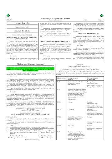 Modificación Anexo III TLC Chile-EFTA - Pollmann