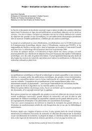 Projet « Evaluation en ligne des archives ouvertes » Le ... - ISIDORA