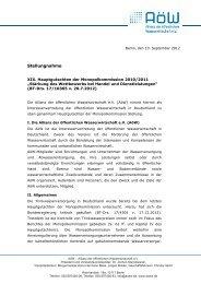 Stellungnahme der Allianz der öffentlichen Wasserwirtschaft