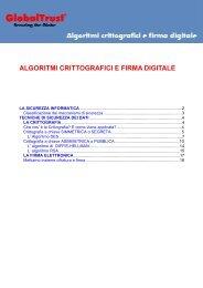 ALGORITMI CRITTOGRAFICI E FIRMA DIGITALE - Globaltrust