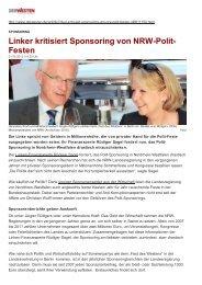 Linker kritisiert Sponsoring von NRW-Polit- Festen - Sagel, Rüdiger ...