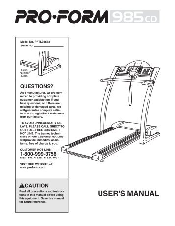 View manual in pdf format icon health & fitness, inc. Customer.