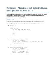 Tentamen i Algoritmer och datastrukturer, fredagen den 13 april 2012