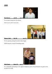 Awards 2009 - Harrow St Mary's Cricket Club