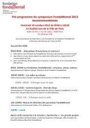 Pré programme Assises 2012 - Fondation FondaMental