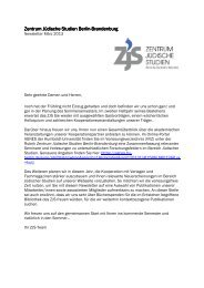 Newsletter März 2013 - Zentrum Jüdische Studien Berlin-Brandenburg
